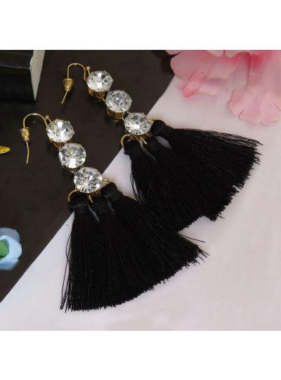 Crystal Diamond Triple Tassel Earrings For Womens
