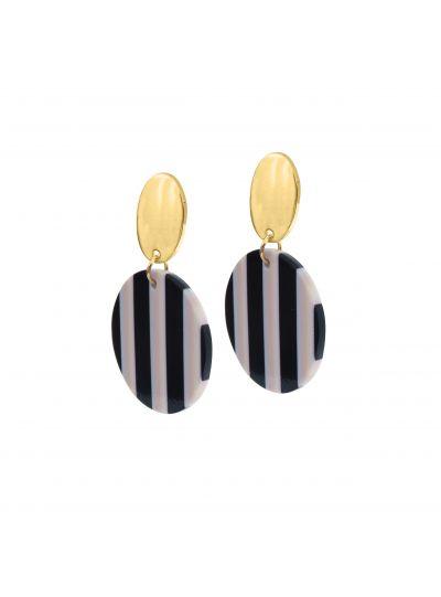 Stunning Stripes Round Resin Earrings For Womens