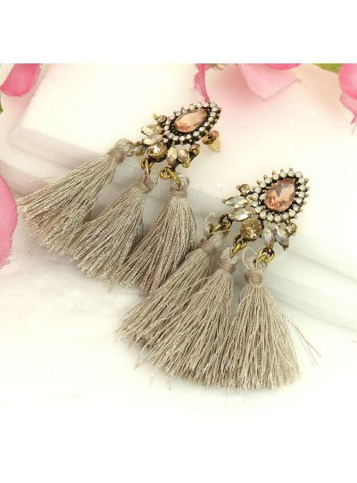 Beige Gold Plated Stone Decorated Triple Tassel Earrings For Womens