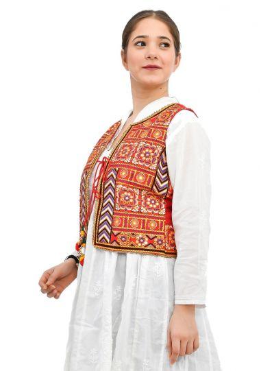 Women Waistcoat Kutch Sleeveless Outwear Embroidered Jacket