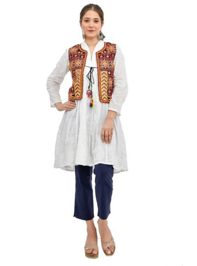 Indian Traditional Embroidered Handmade Cotton Jacket Koti For Women
