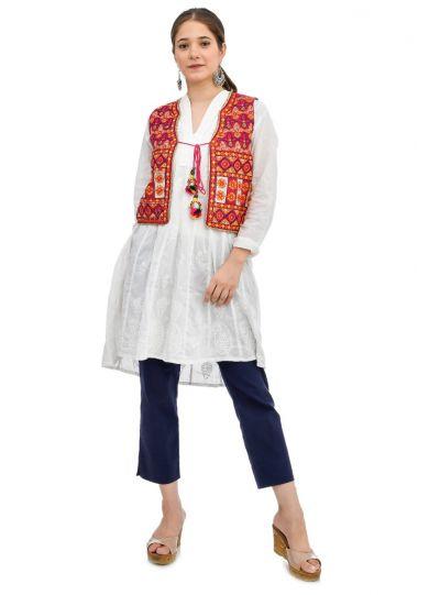Women Cotton Kutch Gujarati Hand Embroidered Jacket Koti