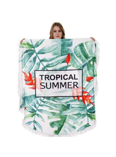 "Oussum Beach Towel Handmade Cotton Round Towel With Fringe Home Pool Bath Towel 60"" Round"