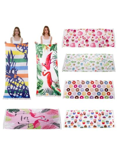"Oussum Beach Towel Rectangle Home Bath Gym Spa Yoga Beach Towel With Short Fringes 72""L X 27"" W"