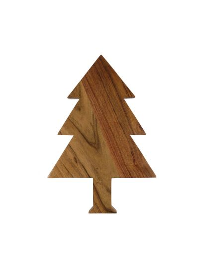 Handmade Christmas Tree Shaped Wooden Cutting Board with Handle