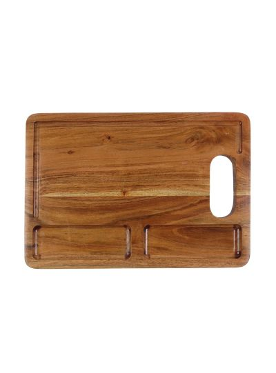 Handmade Heavy Duty Wooden Cutting Board with Juicer Groove and Serving Platter`