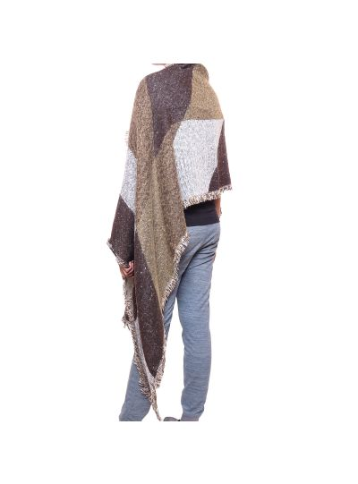 Brown Winter Acrylic Women's Woolen Poncho Fall Style Stripe Cape Shawl Wrap
