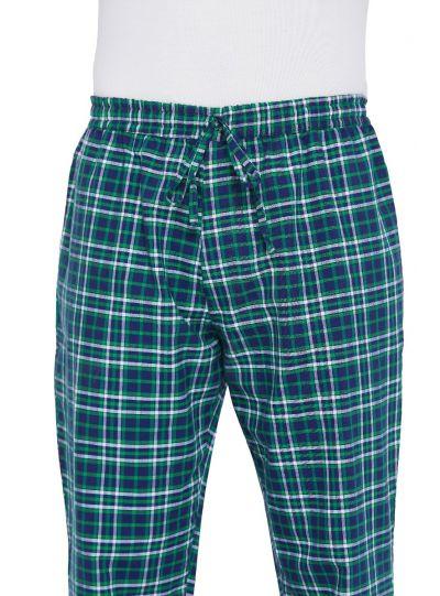 Men Cotton Plaid Pattern Drawstring Pajama Lounge Pants with 2 Pocket
