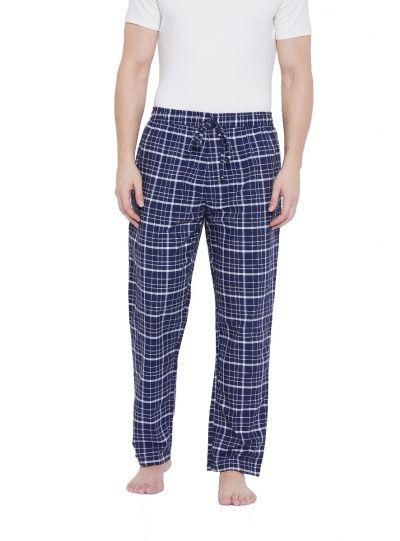 Men Blue Drawstring Plaid Essentials Pajama Pants with 2 Pocket