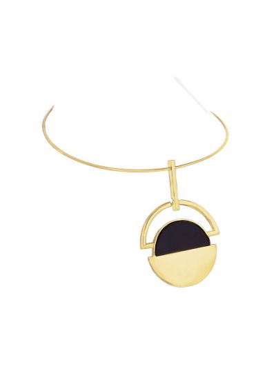 Gold Disk Temper Necklace for Women Statement Fashion Jewelry