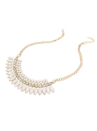 Gold White Gemstone Collar Necklace for Women Fashion Statement Jewelry