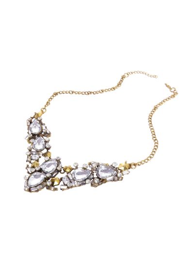 Gold Crystal Bib Choker Necklace for Women Statement Fashion Jewelry