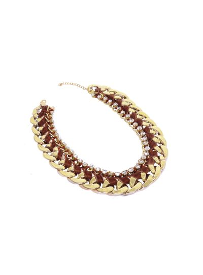 Gold Chain Leather Bib Choker Necklace for Women Fashion Jewelry Online