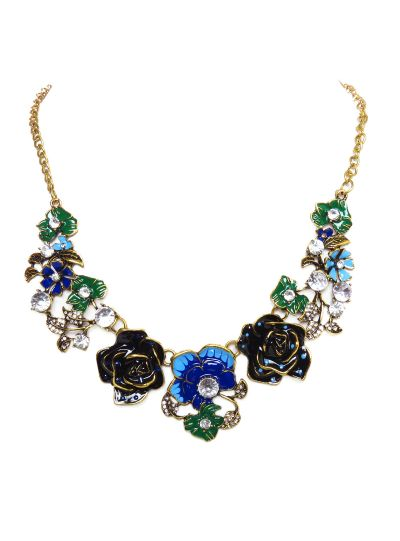 Gold Enamel Floral Rose Choker Necklace for Women Fashion Jewelry Online
