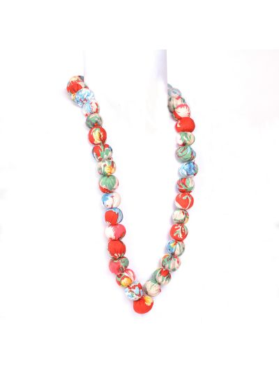 Orange Ethnic Handloom Fabric Cloth Covered Bead Necklace