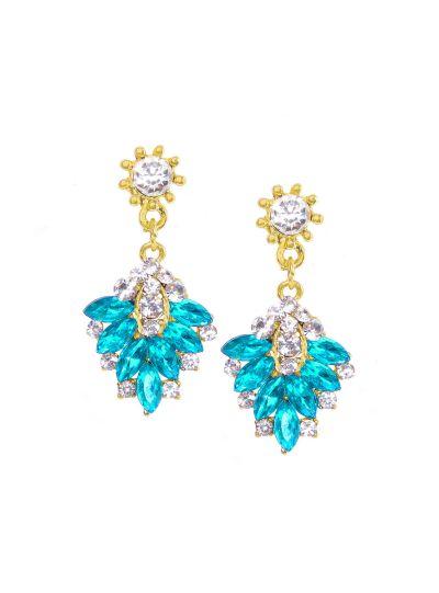 Aqua Gold Gemstone Diamond Dangle Earrings for Women Fashion Ear Jewelry Online