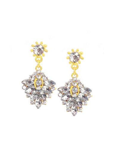 White Gold Gemstone Diamond Dangle Earrings for Women Fashion Ear Jewelry Online