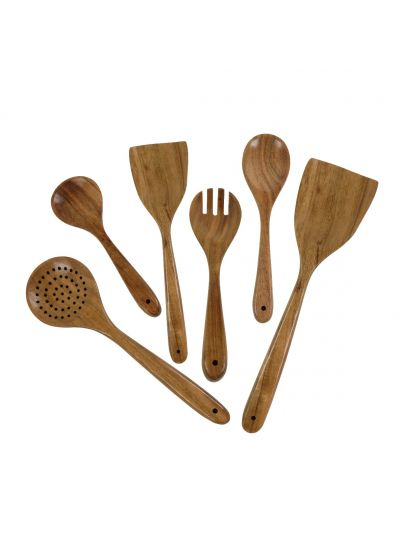 Handmade Wooden Cooking Utensils Set with Spoons Spatulas and Holder