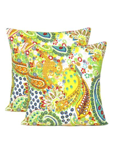 Handmade Kantha Work Cotton Envelop Cushion Cover for Home Decor