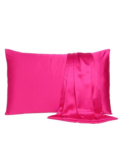 Oussum Satin Queen Size Solid Pillow Cover for Bedroom Decor, 20x30 Inches