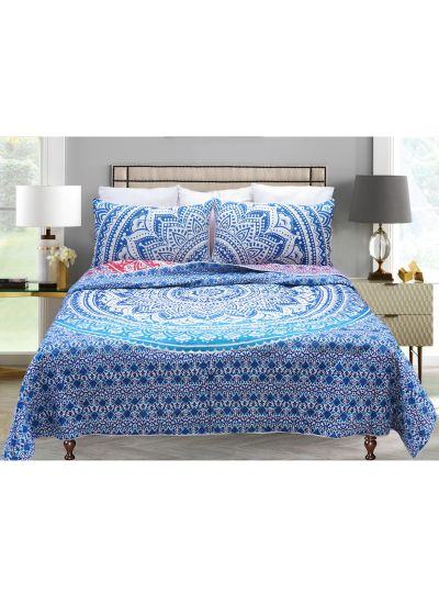 Luxury Ombre Mandala Handmade Reversible Quilt with Pillow Cover Set of 3 online