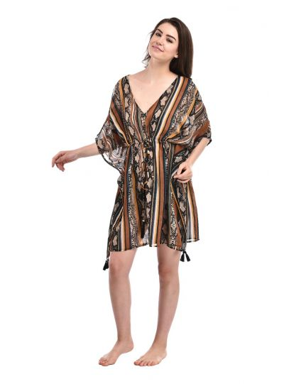Digital Print Tassel Tie-Up Polyester Summer Swimwear Cover up for Women