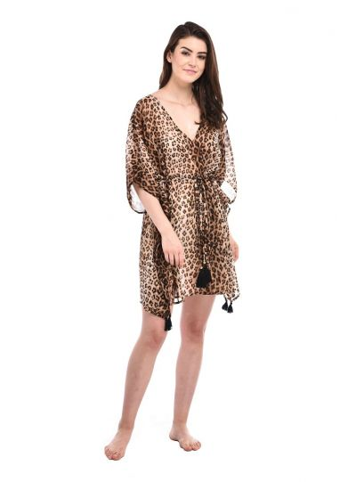 Digital Print Tassel Tie-Up Polyester Summer Beach cover up for women
