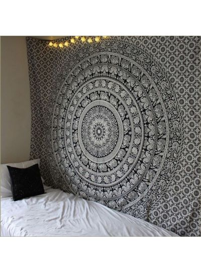 Black Elephant Mandala Tapestry Hippie Wall Hanging College Dorm Room Tapestries Beach Blanket Queen Size Bedspreads