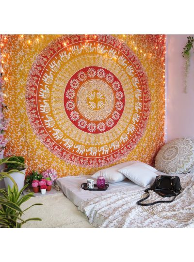 Orange Elephant Mandala Tapestry Hippie Wall Hanging College Dorm Room Tapestries Beach Blanket Queen Size Bedspreads