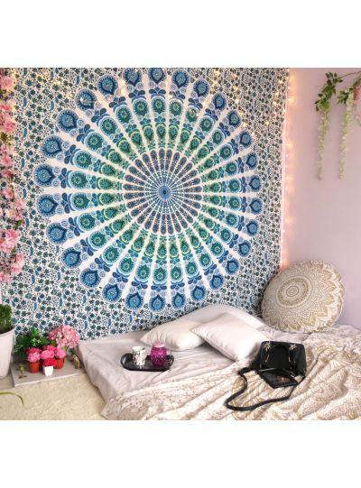 Boho Mandala Tapestry Peacock Wall Hanging College Dorm Room Tapestries Beach Blanket Queen Size Bedspreads