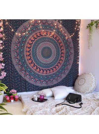Multicolor Hippie Boho Mandala Tapestry Elephant Wall Hanging College Dorm Room Tapestries Beach Blanket Queen Size Bedspreads