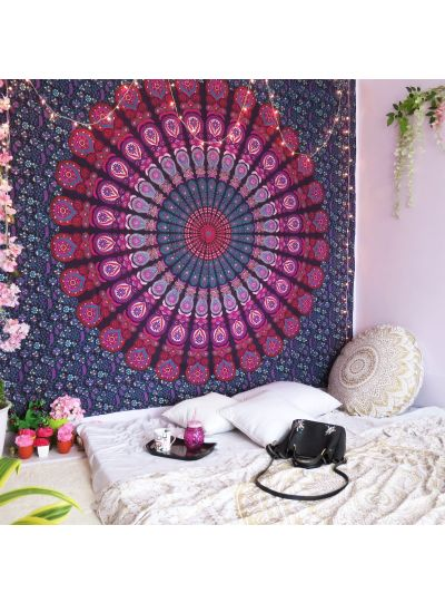 Purple Queen Size Indian Ethnic Decorative Peacock Mandala Wall Hanging Tapestry