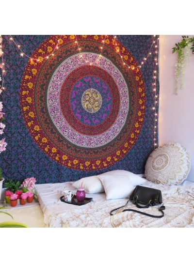 Multicolor Flower Mandala Hippie Tapestry Queen Size Wall Hanging Online
