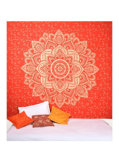 Red Boho Mandala Tapestry Lotus Wall Hanging College Dorm Room Tapestries Beach Blanket Queen Size Bedspreads