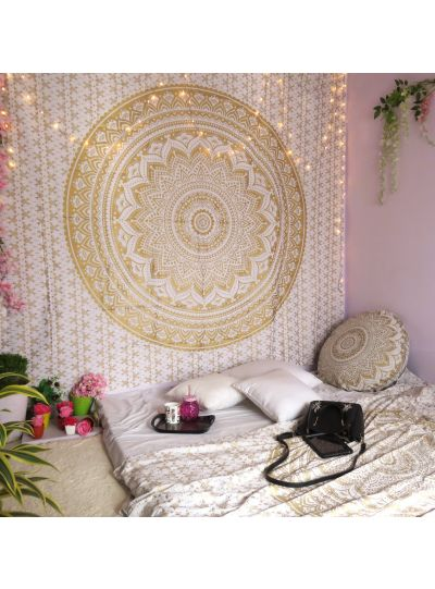 White Boho Mandala Tapestry Ombre Wall Hanging Bohemian College Dorm Room Tapestries Queen Size Bedspreads