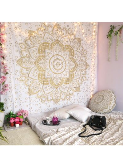 Golden Boho Mandala Tapestry Lotus Hippie Wall Hanging College Dorm Room Tapestries Beach Blanket Queen Size Bedspreads