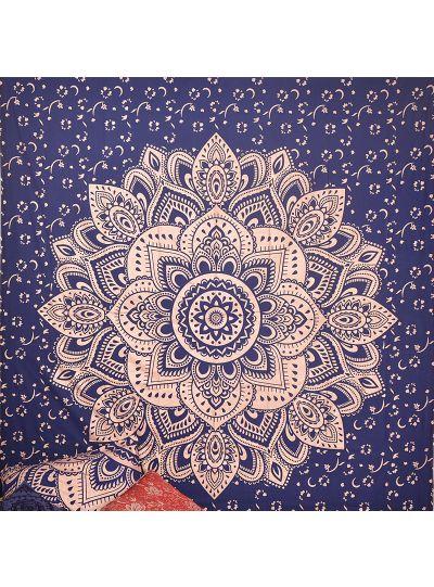 Dark Blue Boho Mandala Tapestry Lotus Bohemian Hippie Wall Hanging College Dorm Room Tapestries Beach Blanket Queen Size Bedspreads
