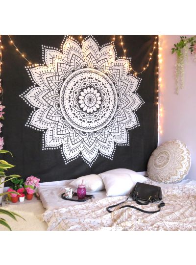 Black White Sunflower Ombre Mandala Tapestry Wall Hanging Indian Online
