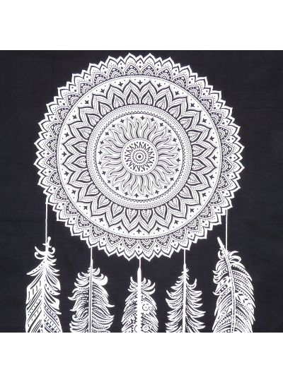 Black Boho Feather Tapestry Hippie Mandala Wall Hanging Dorm Room Tapestries Picnic Beach Blanket Queen Size Bedspreads