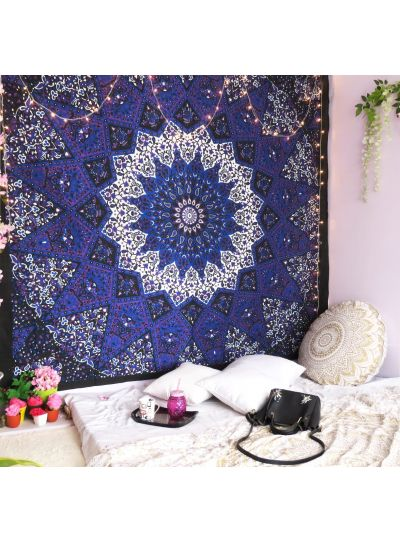 Blue Colored Wall Decor Queen Size Hippie Tapestries Bohemian Wall Hanging Online