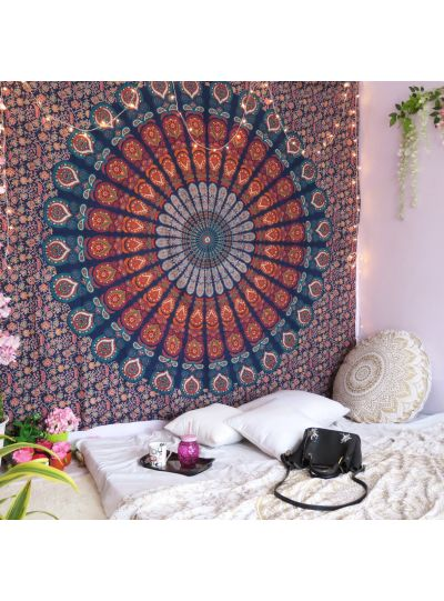 Tapestry Mandala Indian Wall Hanging Multicolor Peacock Ombre Bedspread Online