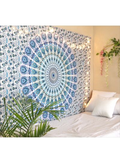 Blue Peacock Mandala Tapestry Bohemian Dorm Room Wall Hanging Tapestry Twin Bedspread Online
