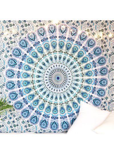 Blue Peacock Mandala Tapestry Bohemian Dorm Room Wall Hanging Tapestry Twin Bedspread Online