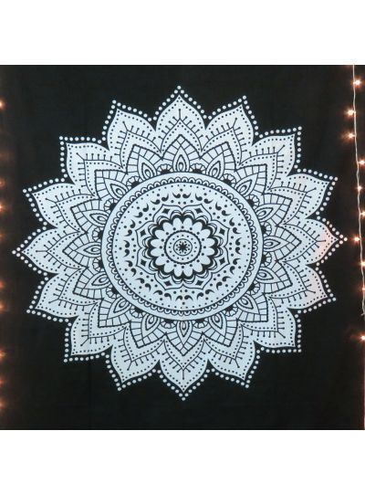 Black Twin Size Decorative Star Mandala Wall Hanging Tapestry Dorm Room Bedspread