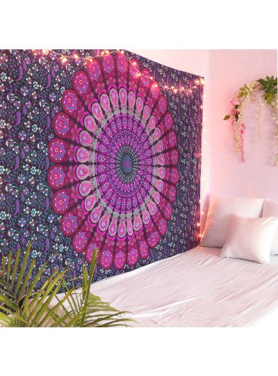 Purple Peacock Mandala Wall Hanging Tapestry Twin Size Indian Mandala Bedspread Beach Blanket