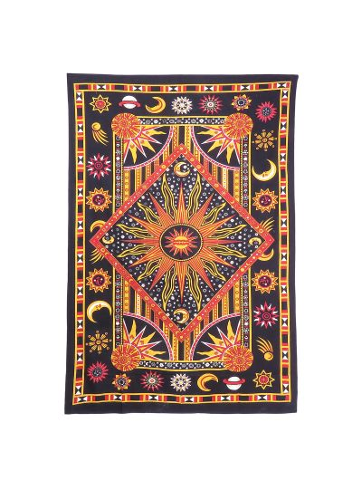 Red and Black Celestial Zodiac Dorm Room Wall Hanging Tapestry Twin Size Bedspread