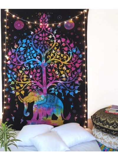 Multicolor Tie Dye Elephant Tree of Life Tapestry Decorative Hippie Indian Wall Hanging