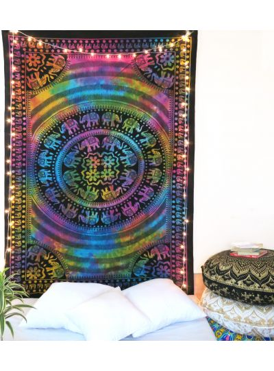 Multiclor Decorative Tie Dye Elephant Tapestry Boho Hippie Indian Twin Size Bedspread