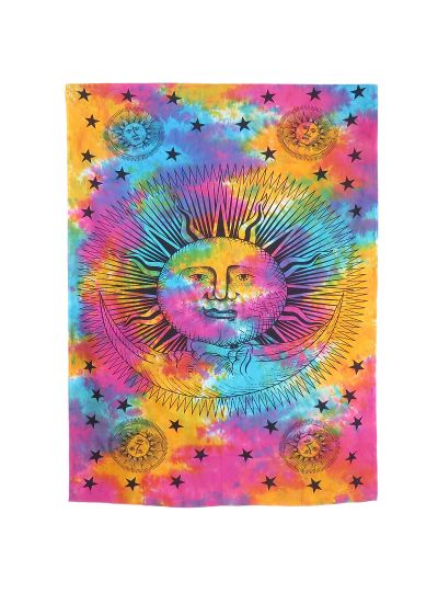 Multicolor Hand Printed Sun and Moon Wall Hanging Tapestry Boho Indian Wall Hanging