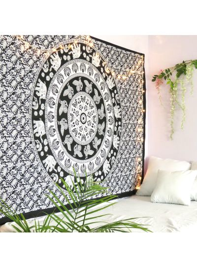 Black and White Cotton Hippie Wall Hanging Ethnic Indian Elephant Tapestry Twin Size Bohemian Bedspread